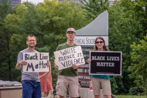 Society members at the monthly Black Lives Matter demonstration