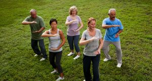 People practicing TaiChi